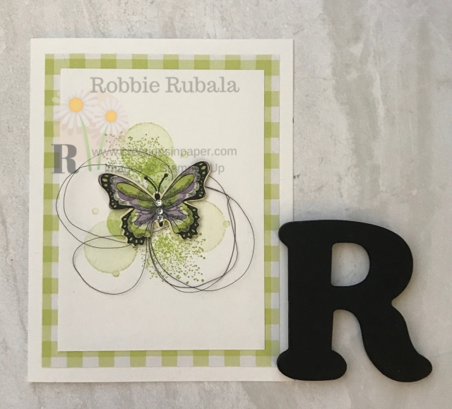 The butterfly suite from Stampin' Up is great for home made cards. Look at this adorable card using the Botanical Butterfly designer series paper.