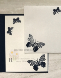 This clean and simple butterfly gala bundle card amps up with a stamped envelope.