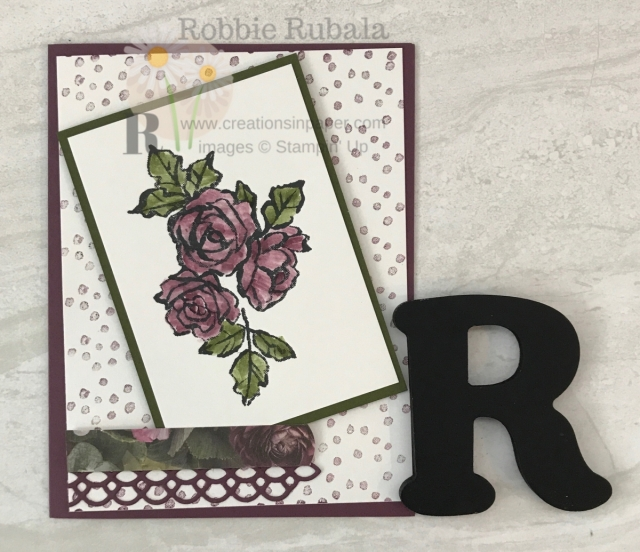 Ever used a long strip stamp to create a background? Here is a Dots and Flowers Handmade Card I made using the strip of dots from a stamp set.