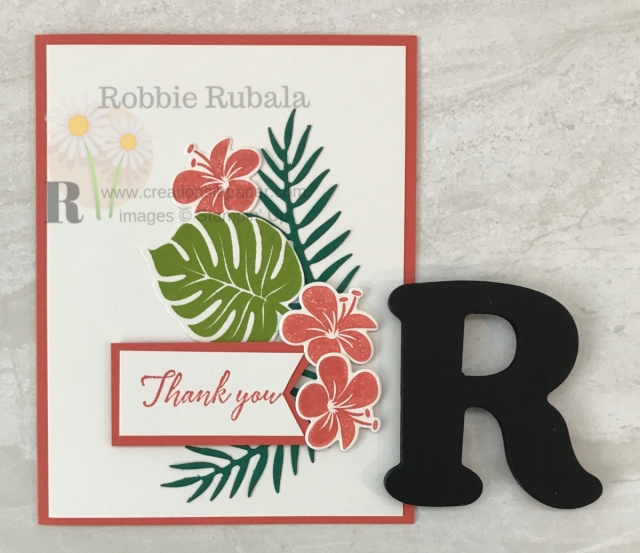 This is a colorful Thank You card. The Stampin' Up Tropical Chic in Calypso Coral could easily be recreated using other colors.
