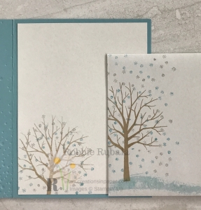 A pretty winter scene for the inside and envelope. Click the photo to see the Sheltering Tree Snowfall creation.