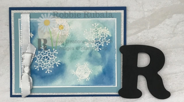I love playing with watercolor ideas. Here is a way to use one of the paper you can create. To get all the details for my Watercolor Snowflakes Card click the photo.