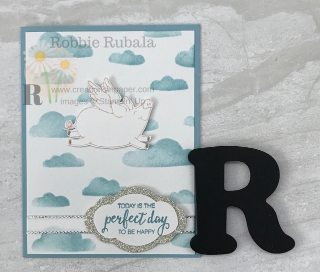 When I saw this image in the This Little Piggy set I knew I had to create this card. This sentiment is perfect for my When Pigs Fly Piggy Card.