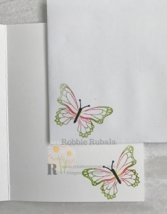 The colors for this butterfly was based on a C.A.S.E. the catty challenge. Click the photo to see the Beautiful Day for a C.A.S.E. the Catty card front with the white wash technique.