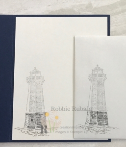 This lighthouse is the focal image on the card front. Click the photo to see the Sailing Home Thanks creation.