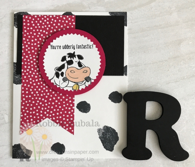 Isn't this cow just too cute? He makes a great card. Click the photo to see the video for my Quick and Easy Over the Moon creation.