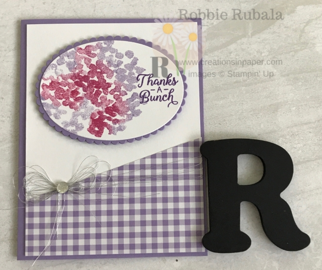 Isn't this a great card? I love playing with the hydrangea stamp and recreating some of the colors you would naturally find. Get the details of my Beautiful Friendship Hydrangea Thanks card by clicking the photo.
