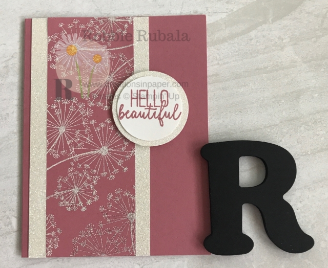 You can't go wrong with sparkle. The Stampin' Up Dandelion Hello card is very sparkly. Get the details by clicking the photo.