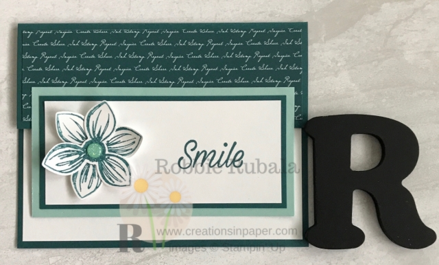 Do you like unusual or dofferent card fronts for you cards? I am always looking for them. Here is an idea I used for my Floral Essence Smile creation. Click the photo to see the video showing how I made it.