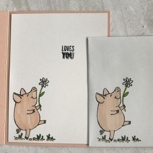 Isn't this pig image just adorable? He makes a great card. To see the card front for my Stampin' Up This Little Piggy, click the photo.