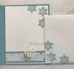 This is the inside of the card and is beautiful. You can imagine what the outside looks like. To find out click the photo of the Stampin' Up Feels Like Frost Snowflakes.
