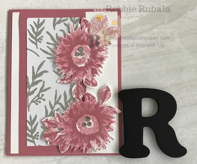 This gorgeous card uses that beautiful paper in the Holiday Catalog. Check out the video for my Feels Like Frost with Ricoco Rose creation. Click the photo.