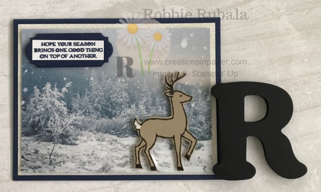 This gorgeous paper is perfect for creating a winter scene. Add a forrest animal and you have a perfect card. Check out the Feels Like Frost Santa's Sleigh creation for an idea.