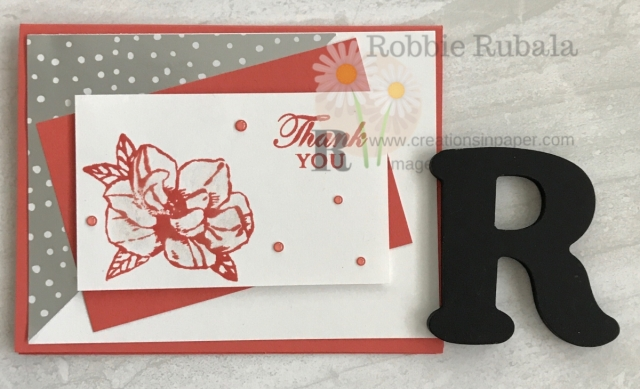 Here is an idea for a quick Thank You card. The Magnolia Blooms with Feels Like Frost dsp makes it easy. Don't miss the details!