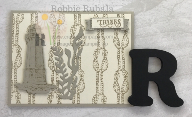 Using an image to create a background is easy with this stamp set. The video shows how easy this masculine Monochromatic Sail Home creation is.