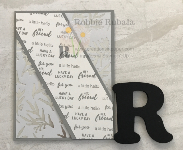 Did you know you can use word and some designer series paper to make a great card. Check out the Monochromatic Itty Bitty Greetings idea by clicking the photo.