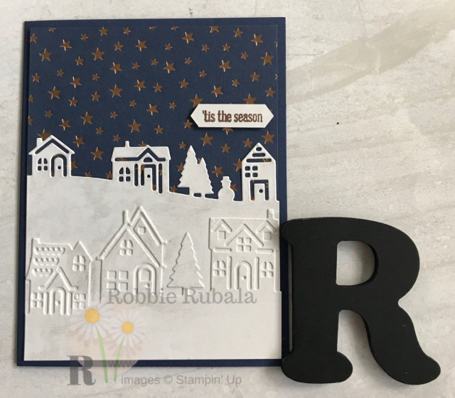 Copper is a great alternative for a metallic on you card. Check out this designer series paper that was was used for my Brightly Gleaming Snow creation.