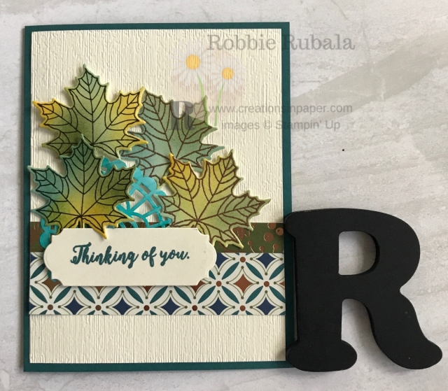 The color for these leaves was based on the designer series paper used. Don't miss what colors I used for my Brightly Gleaming Thinking of You creation.