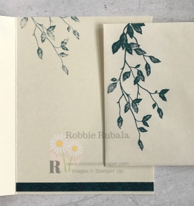 This leaf spray creates a great card front. Check out the Very Versailles and Brightly Gleaming dsp to see how the 2 are used together.