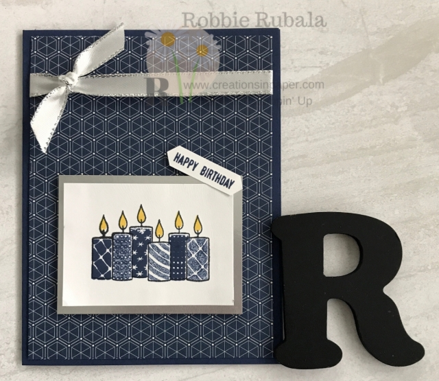 Look at the patterns of the designer series paper carefully as they can be used for lots of ideas. This Brightly Gleaming Happy Birthday card uses a #ShopYourCraftStash stamp set for a great card.