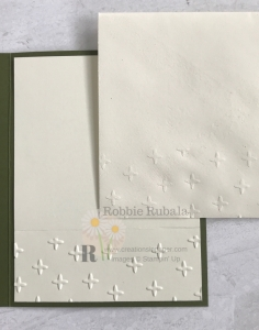 A retired embossing folder was used to decorate the inside of the card and envelope. Don't miss how I used this folder to create the Brightly Gleamins Stars creation.