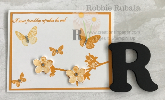 Using one color is a great way to create with minimal supplies. The Stampin' Up Butterfly Wishes Sweet Friendship creation is an idea you could easily do in any color.