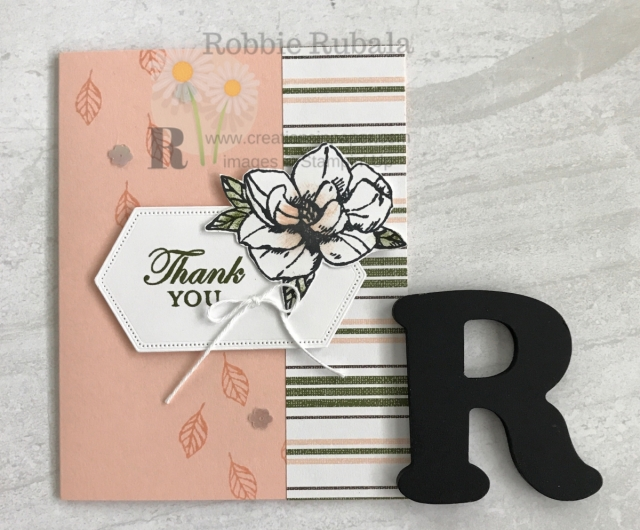 This quick and easy Thank You card is perfect when you need a quick card. Watch the video for the Stampin' Up Magnolia Blooms Thank You creation for the details.