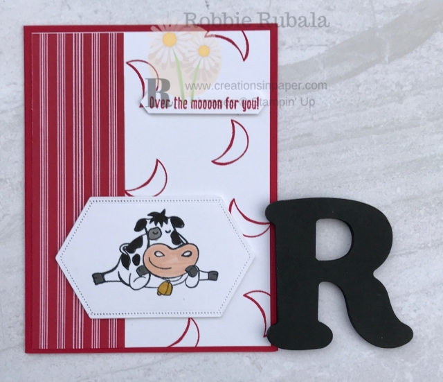 This cow is so cute! That designer series paper is also Winter paper. Love using items for other occasions than they were intended. Get the details for the Stampin' Up Let It Snow Ideas.