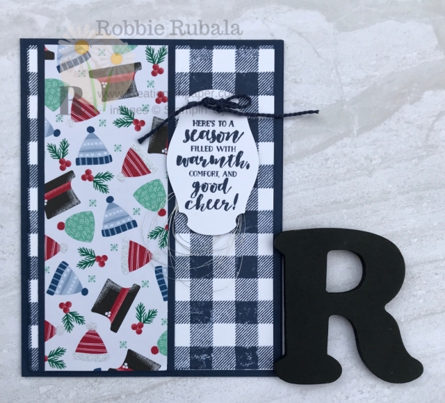 Flannel says cool days to me. The Buffalo Check background stamp reminds me of flannel. I paired it with the hat pattern in the designer series paper to create this cute Let It Snow and Buffalo Check creation.