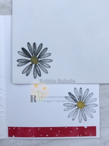 See that strip of dsp? That is actually snow themed paper. To find out how I used that paper with the daisy check out my Let It Snow Daisy creation.