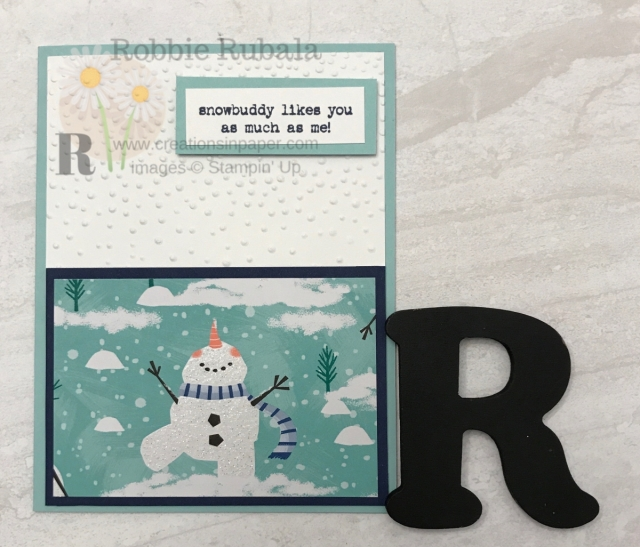 This adorable snowman was part of the designer series paper and set the tone for the Let It Snow Snowbuddy creation.