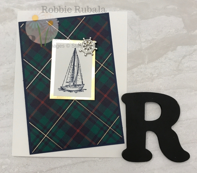 A simple masculine card that uses the plaid paper again. Look at this Wrapped in Plaid Sailing Home guy idea.