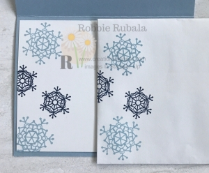 These snowflakes and some designer series paper create a pretty Fast and Fabulous Snowflakes card.