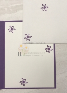 These cute little flowers give a hint as to the card front. Check out the Sweet Friendship card to see how the flowers reflect the card front.
