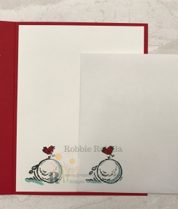 Don't miss how this little red bird creating a snowball goes with the Oh What Fun Let It Snow card.