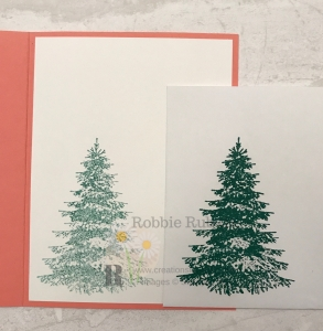 This tree is used with a fun designer series paper and a different color combination. Check out the Let It Snow Winter Woods creation for the details.