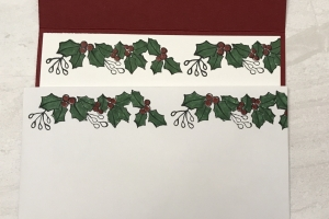 This holly banner is combined with a current set for a great Christmas card. Don't miss the #ShopYourCraftStash Blended Seasons creation.