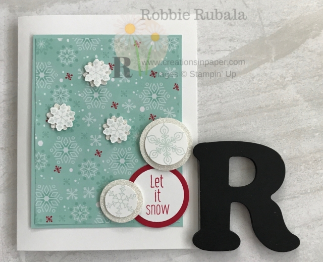 Do you like playing with new sets like I do. I was excited when I got a stamp set that I could use to make this To Every Season With Let It Snow card.