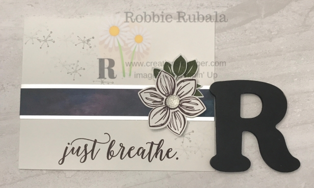 "Simple cards can have a wow factor. Look at this Just Breathe Floral Essence idea that when you look at it you say ""Wow!"""