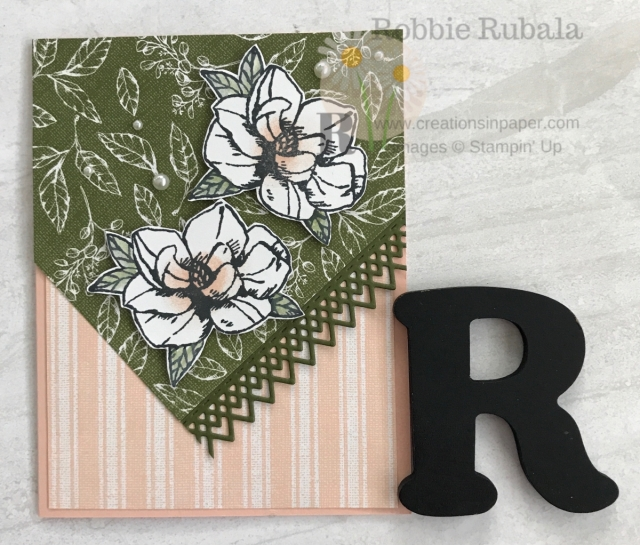 A pretty card with a fun angled cut to create interest. Get the details for my Magnolia Blooms All Occasion Idea.