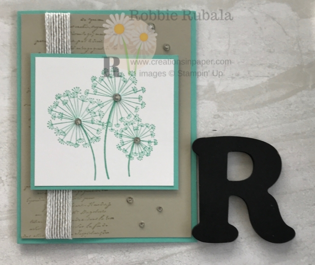 A quick card with some simple stamping for the background. Learn about this Dandelion Wishes With Very Versailles card on the blog.