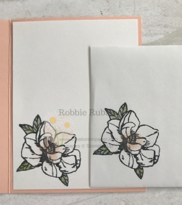 This magnolia image is so easy to color and the perfect size for your card. Check out the card front for the Magnolia Blooms All Occasion Idea.