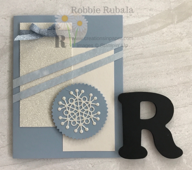 Isn't this a pretty card? I just love this color for winter cards. Get the details for this Fast and Fabulous Seasonal Layers Dies creation.