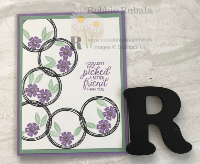 Isn't this a fun card? I just love those circles with the flowers inside. There is a video showing how I created my Swirly Frames A Better Friend card.