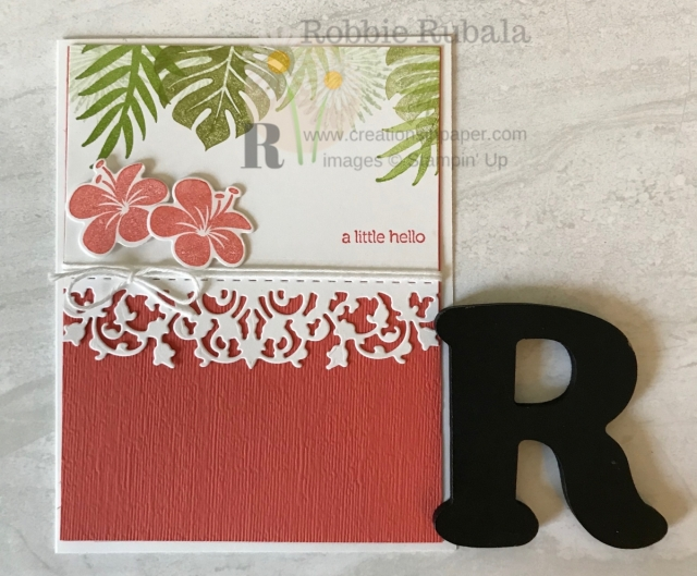 Lacey borders add interest to your cards. Learn how I created my Fast and Fabulous Tropical Chic creation.
