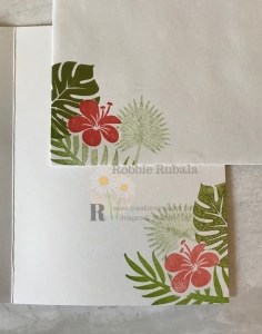 These great images create a pretty Fast and Fabulous Tropical Chic card with a lacey border.
