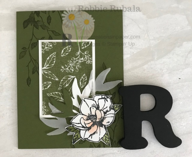 This simple card is easy to do and uses just 2 stamp sets. Check out the Magnolia Blooms Meets Very Versailles idea.