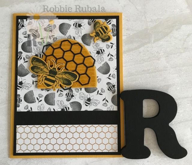 Have you gotten the Honey Bee products from the Occassions 2020 catalog? They are fun to play with and combine with the bee paper from the Sale-a-bration brochure. Check out this Honey Bee Bundle Idea!