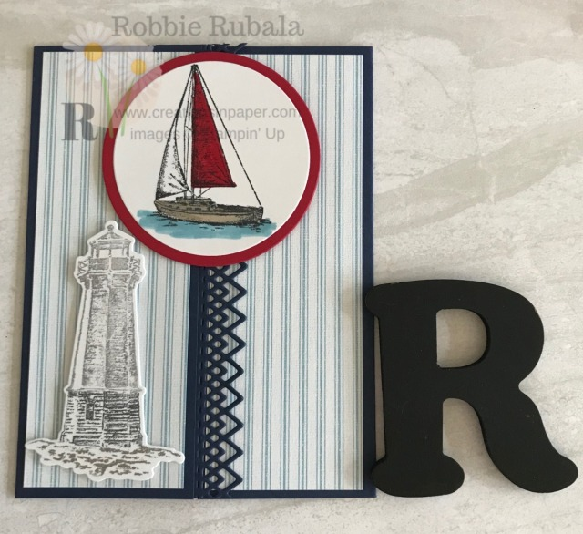 A gate fold card is easy to do once you know the measurements for scoring. Check out this Fast and Fabulous Sailing Home idea with a fancy edge.