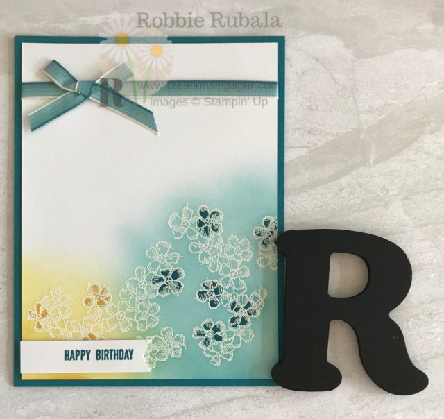 Simple sponging over an embossed image is a great way to create a clean and simple card. Check out this #ShopYourCraftStash Saturday birthday card.